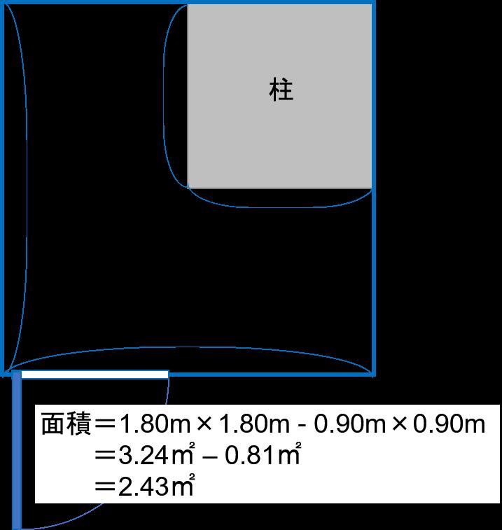 柱のあるトランクルームの面積