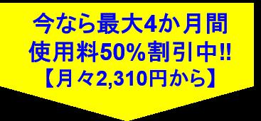 今なら最大4か月間使用料50%割引中【月々2,310円から】